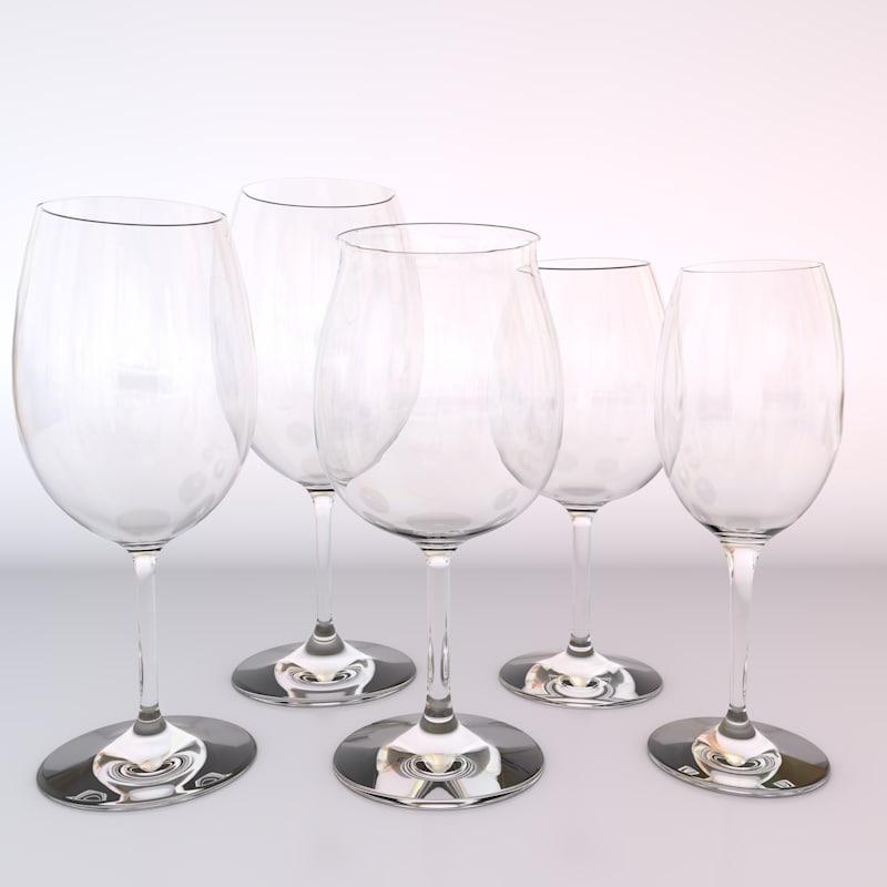 set glasses red wines 3d c4d