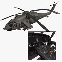 purchase uh-60m battlehawk helicopter interior 3d model