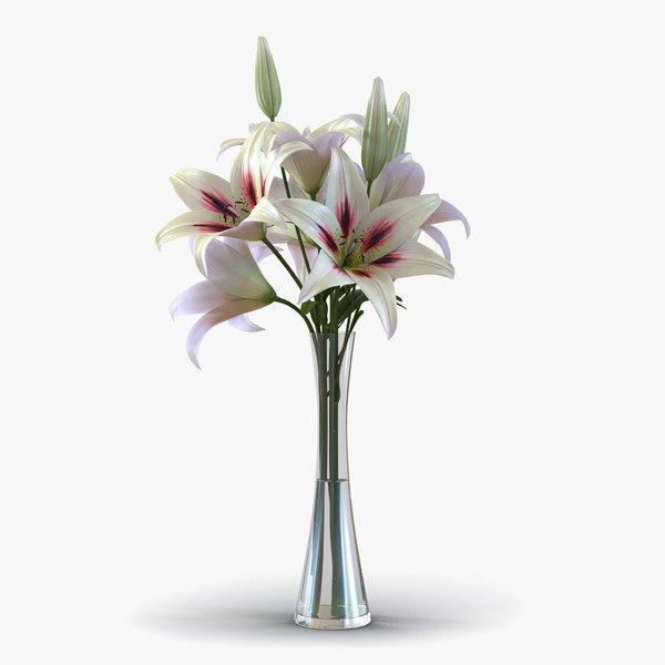 3d model of white lily vase
