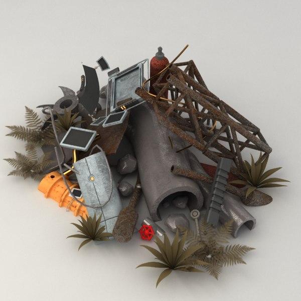 3ds max metal junk pile