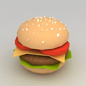 3d hamburger minimalistic model