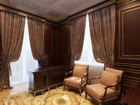 classical home office interior 3d max