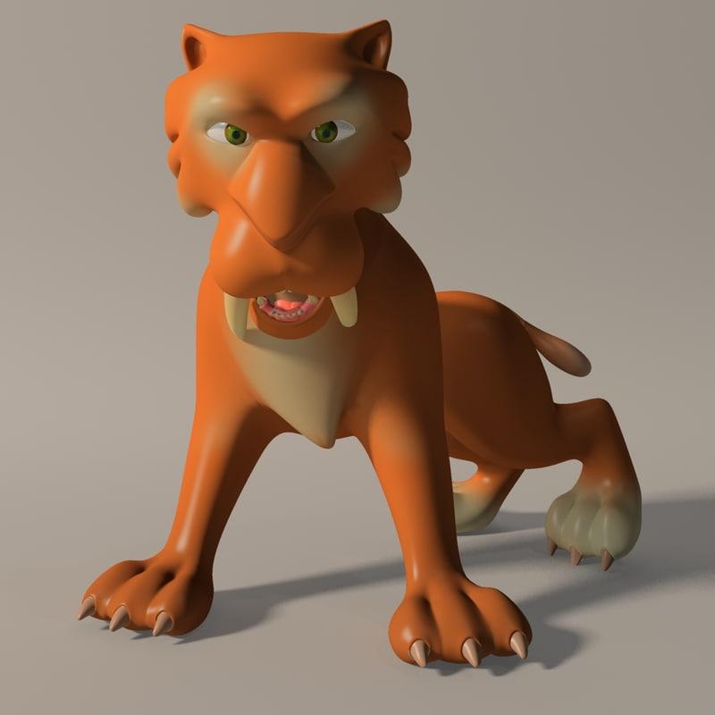 cartoon tiger rigged 3d 3ds