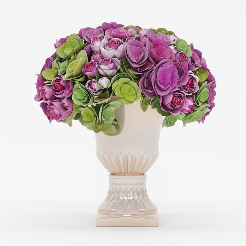 bouquet roses hydrangea flowers max