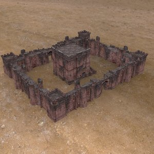 3d model castle fortress set