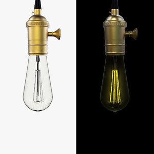 retro vintage bulb light 3d fbx