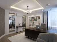 3ds max contemporary home office interior