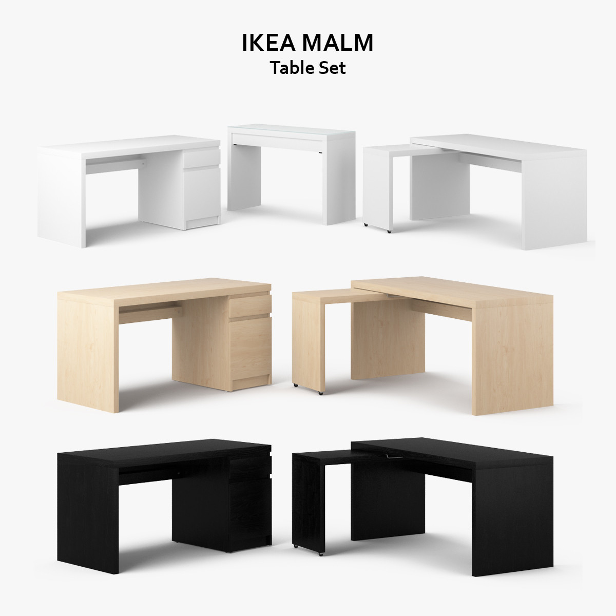 3d model ikea malm table set. Black Bedroom Furniture Sets. Home Design Ideas