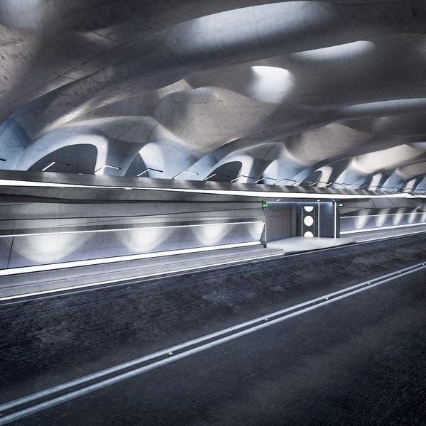 futuristic tunnel 3d model