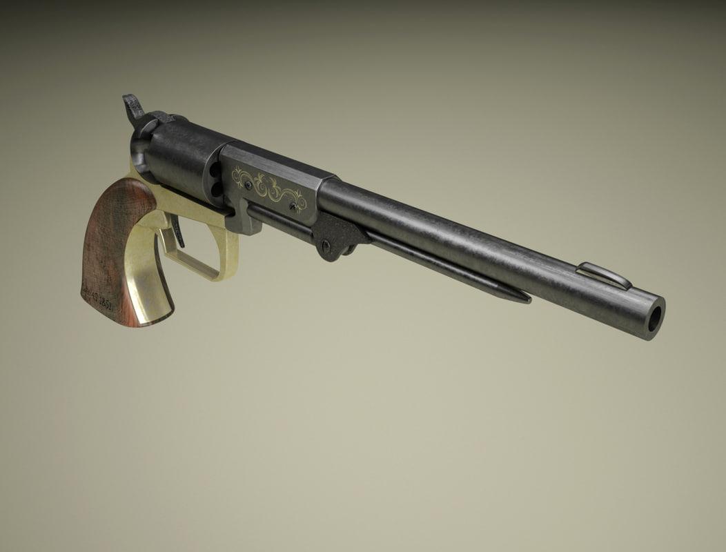 antique gun colt 3d model