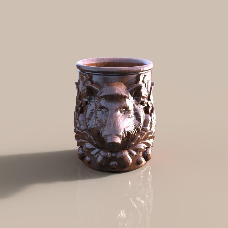 3d cup wild boar model
