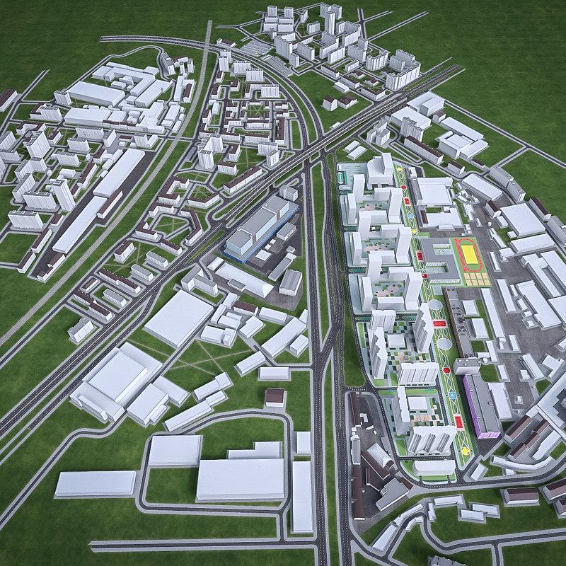 3d urban area model