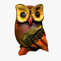 Wooden Owl Statue (Low Poly)