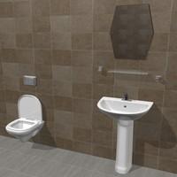3d toilet bathroom scene