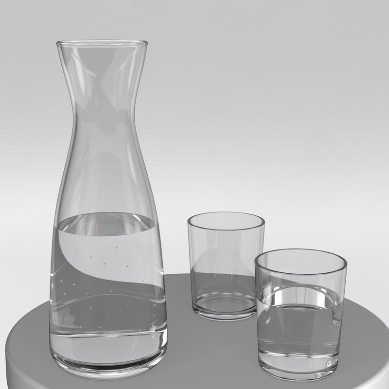lathe glass water set obj