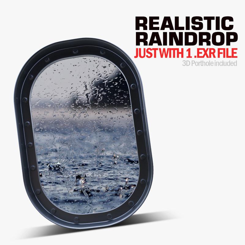 3d model hyperrealist raindrops drop water