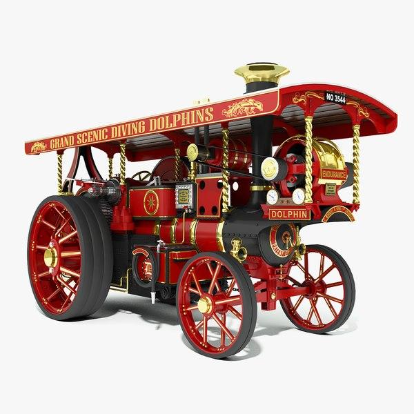3d burrell steam road locomotive model