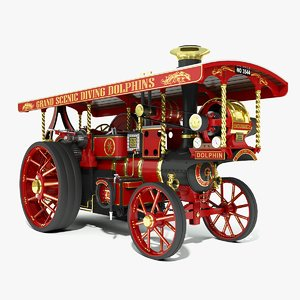 3d burrell steam road locomotive model