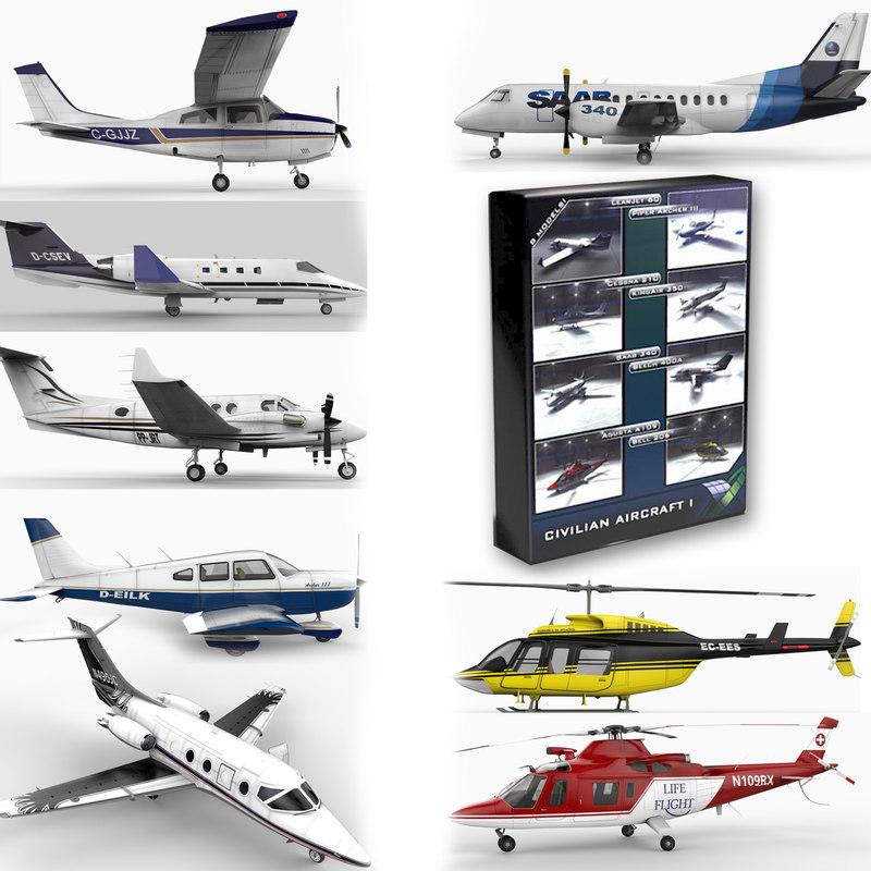 3d civilian aircraft model