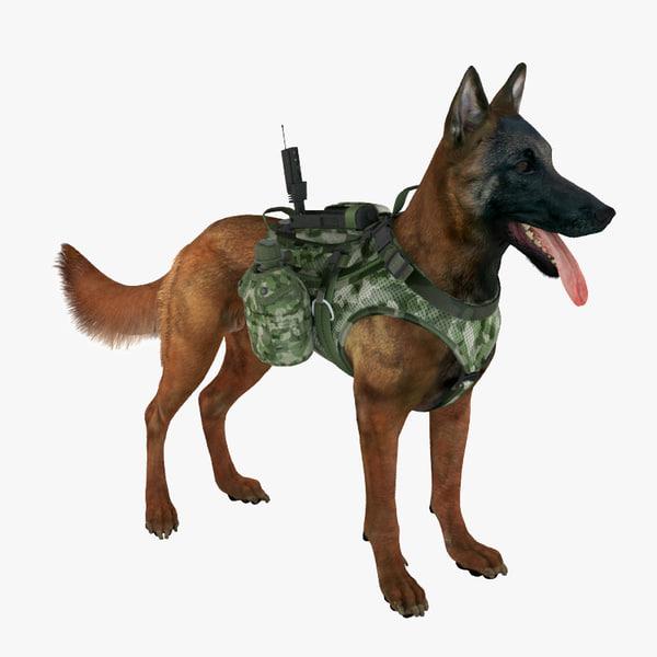 3d model military shepherd dog 1