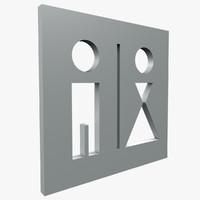 toilet symbol3 3d model