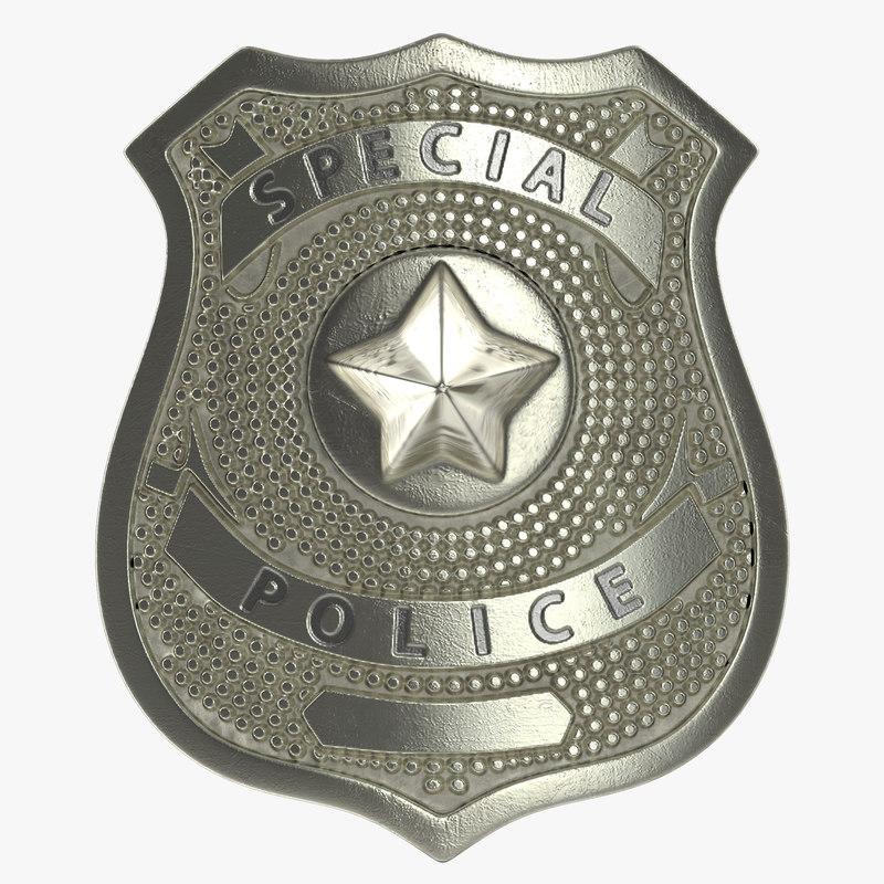 3d model special police hat badge
