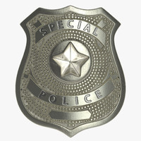 3d model special police hat badge