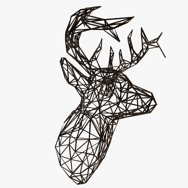 3d deer head