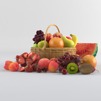Basket with ten fruits collection