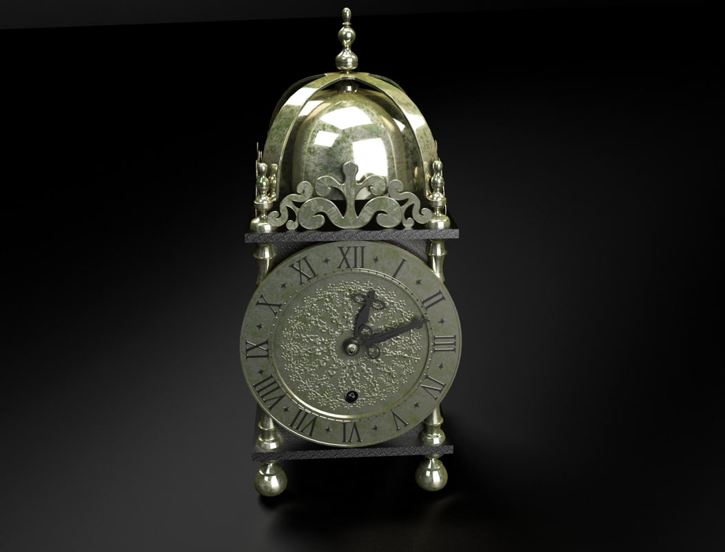 3d model antique table clock