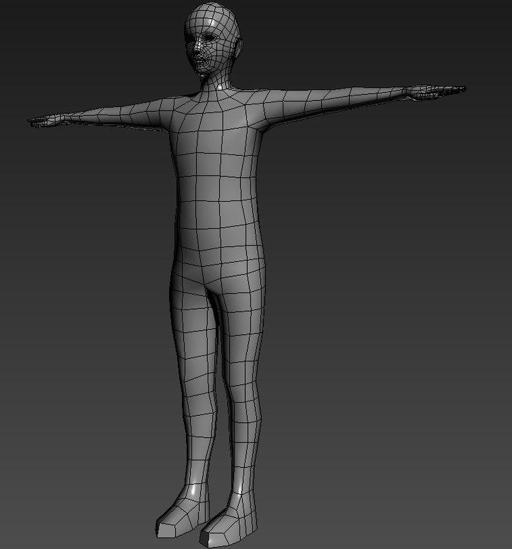 3d model polygons male base mesh