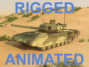 rigged tank t-14 armata 3d obj