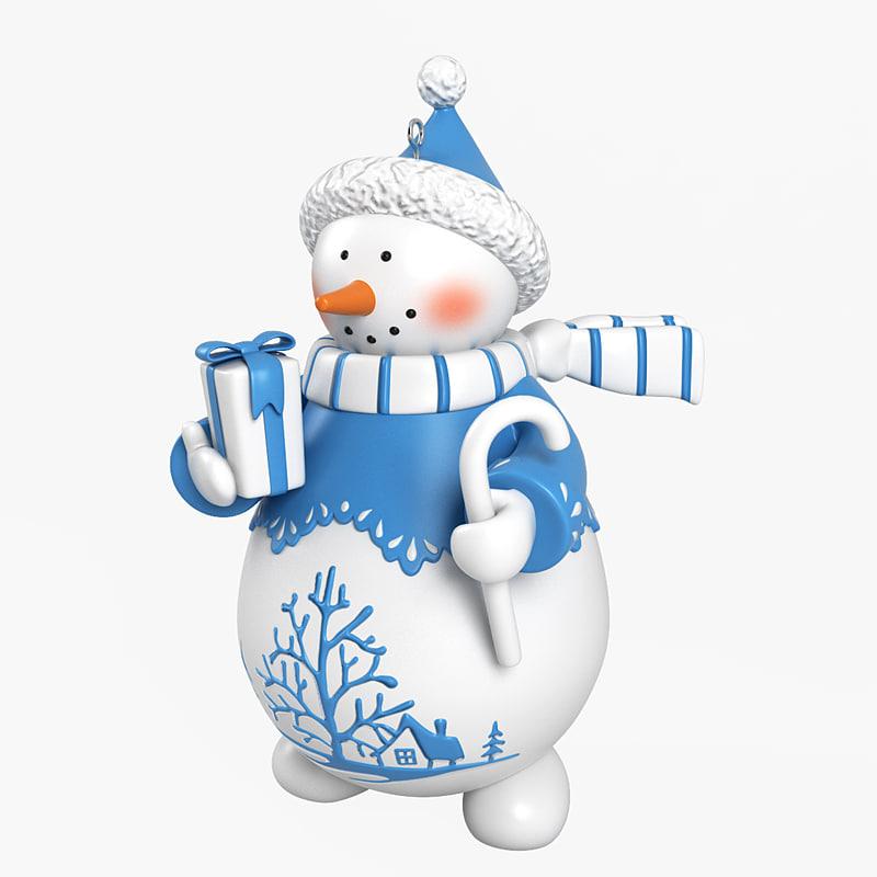 snowman decoration snow 3d model
