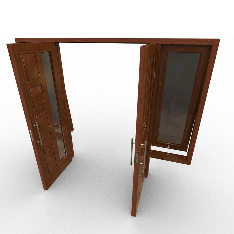 3d model double door window