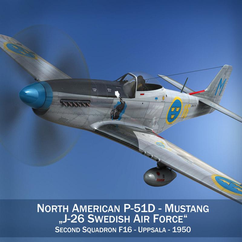 3d model north american p-51d mustang