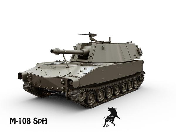 m-108 artillery 3d model