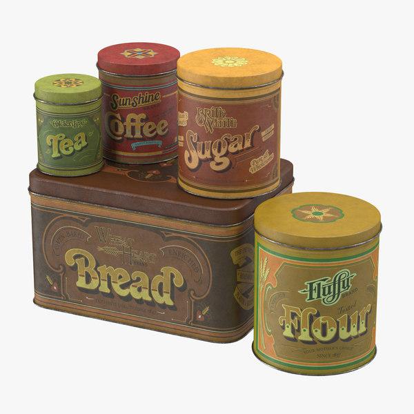 c4d vintage kitchen tins