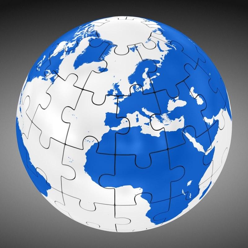 3d puzzle globe world