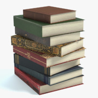 3d model stack old books