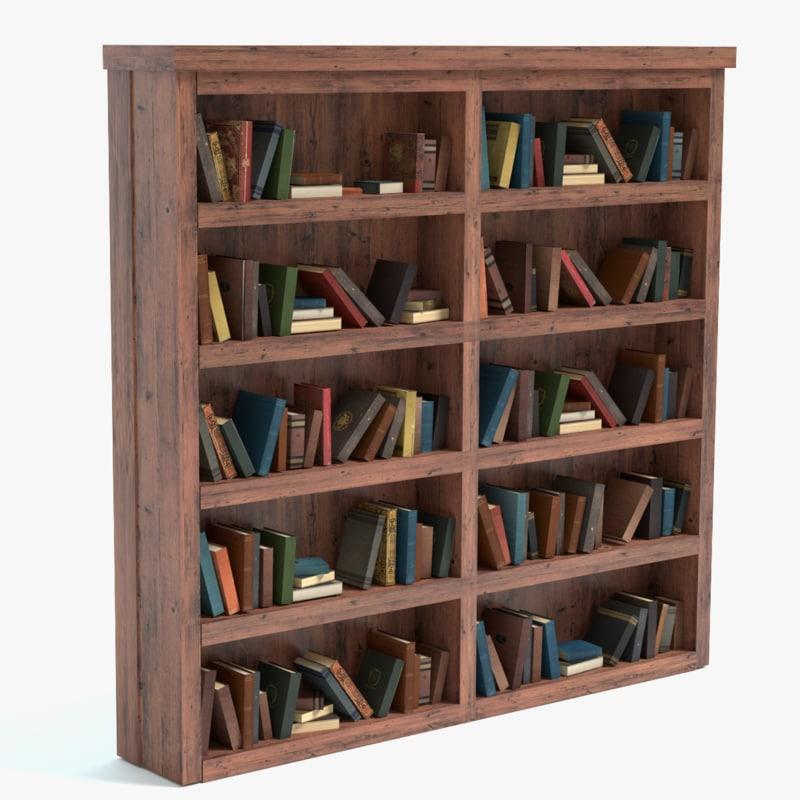 old bookshelf books 3d 3ds