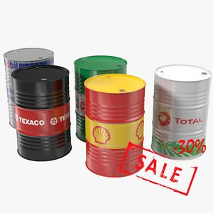 3d steel oil barrel