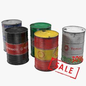 steel oil barrel old 3d max