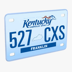 kentucky license plate 3d model