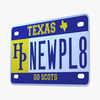 3d model texas license plate