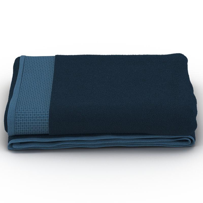 towel blue fur 3d model