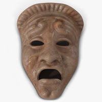 Theatre Tragedy Mask Red Marble 3D Model