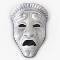 Theatre Tragedy Mask White Marble 3D Model