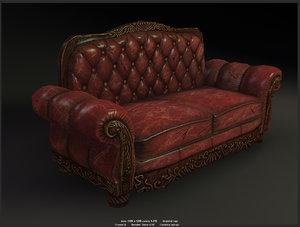 sofa modelled games 3d fbx