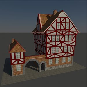 german half-timbered house 3d model