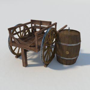 3d old cart barrel
